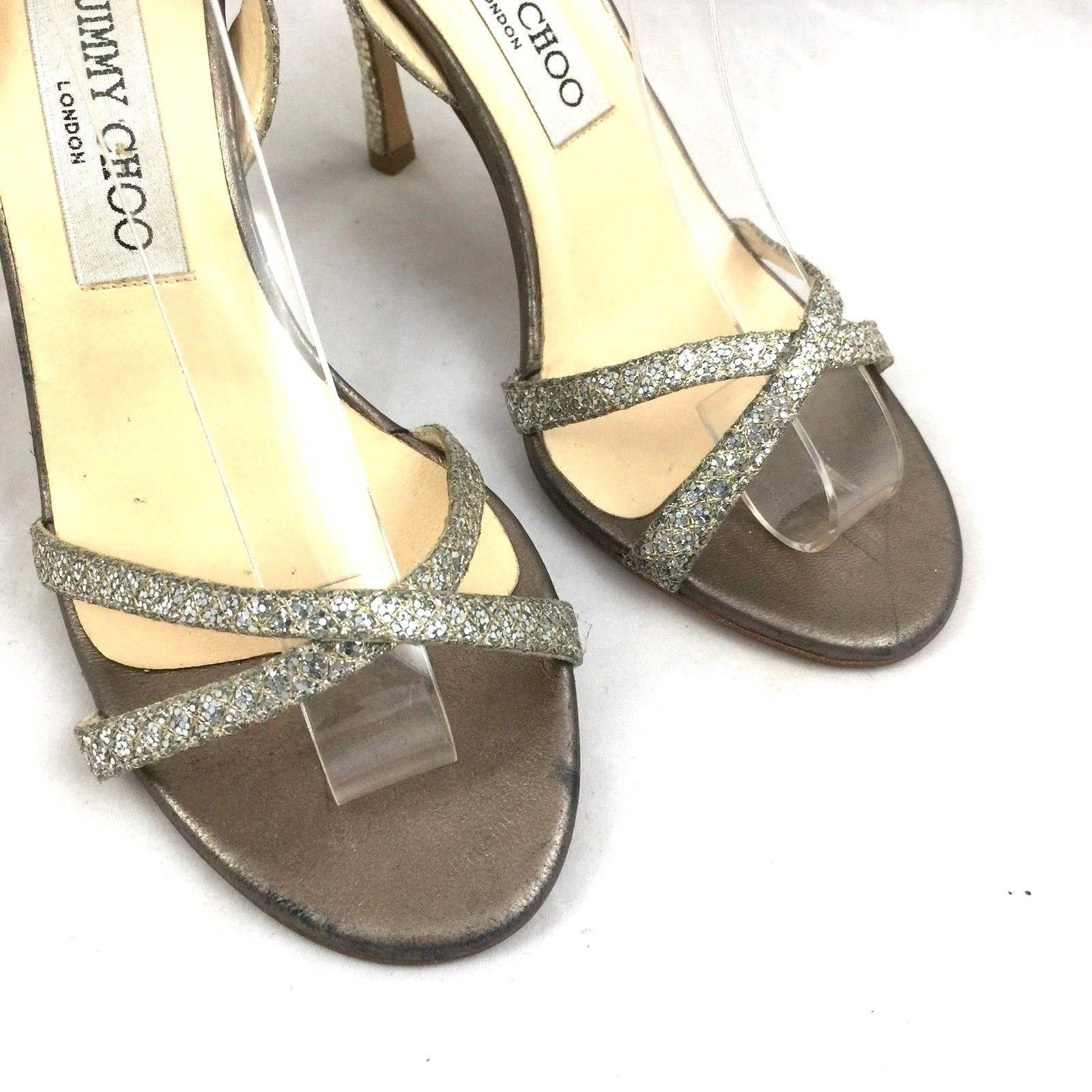 265e8ed118e ... Jimmy Choo Silver Silver Silver India Glitter Leather Open Toe Slingback  Slip Sandals Size US 6.5 ...