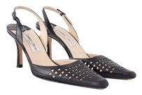 Jimmy Choo Leather Pointed Toe Perforated Slingback Heel Black Pumps