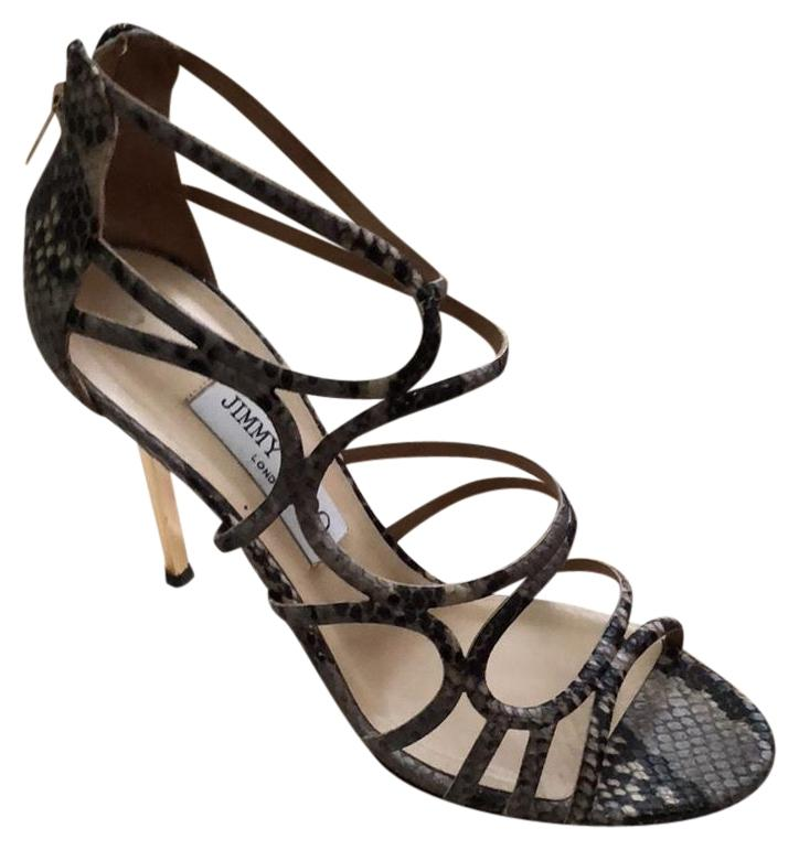230aed81b951 Jimmy Choo Snakeskin Cream Taupe Gray Sandals Sandals Sandals Size US 9  Regular (M