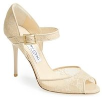 Jimmy Choo Lace Mary Jane Beige Pumps