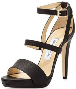 Jimmy Choo Discus Strappy Leather Platform Leather Black Sandals