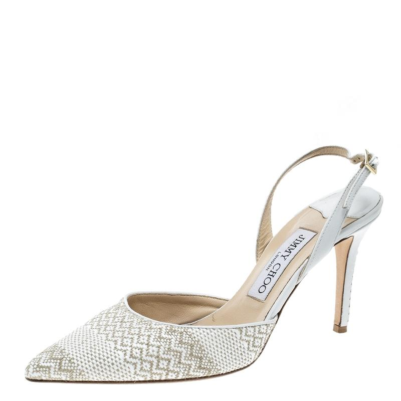 5df36a6c883 Gentleman Lady——Jimmy Choo White And Brown Woven Woven Woven Tilly Pointed  Toe