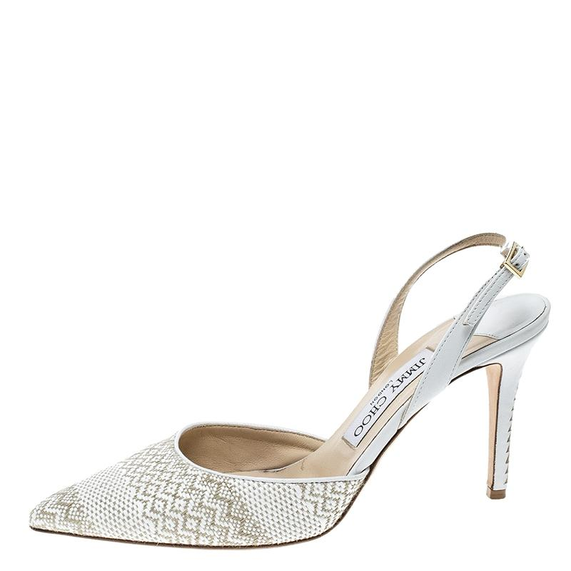 bbba3267dfd ... Gentleman Lady——Jimmy Choo White And Brown Woven Woven Woven Tilly Pointed  Toe ...