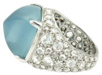 John Hardy John Hardy 18k Gold Cabochon Aquamarine 2.00ct Rose Cut Diamond Cocktail Ring