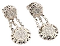 John Hardy John Hardy Sterling Silver 18k Yg Circular Pave Diamond Dangle Drop Earrings