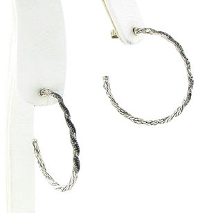 John Hardy John Hardy Lava Earrings Classic Chain Hoops Black Sapphires Sterling