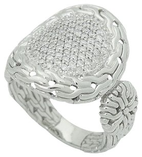 John Hardy John Hardy Silver Carved Chain 0.44 Tcw Diamond Pave Circle Contour Ring R712