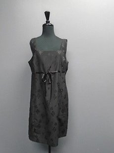 John Roberts Sleeveless Ribbon Belted Floral Embossed 3612a Dress