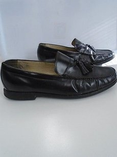 Johnston And Murphy Black Leather Slip On Loafer Shoes W Tassels 13m B3461