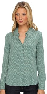 Joie Print Collar Casual Button Down Shirt Green