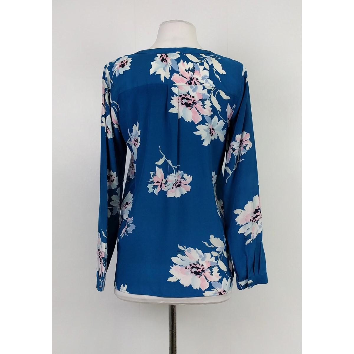 joie blue teal floral blouse size 0  xs