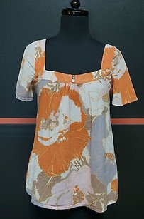 Joie Guar Flutter Ss Babydollpeasant Orange Gray White Pink Floral 3190 Top Multi-Color