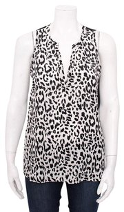 Joie Corette Black White Leopard Print Sheer Sleeveless Silk Shirt Top Multi-Color