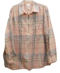 Jones New York Flannel Longsleeve Top Pink, grey, lt. blue plaid