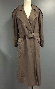Jones New York Wool Collared Belted Button Fasten Sma7096 Trench Coat
