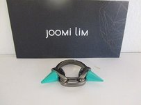Joomi Lim Joomi Lim Gunmetal Double Spike Link Ring Green