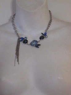 Joomi Lim Joomi Lim Silver Chain Multi Crystal Necklace Blue