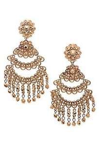 Jose & Maria Barrera Barrera Gold-tone Crystal Chandelier Clip-on Earrings
