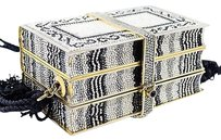 Judith Leiber Vintage Black White Crystal Design Gold Tone Multi-Color Clutch