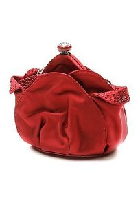 Judith Leiber Satin Crystal Embellished Evening Red Clutch