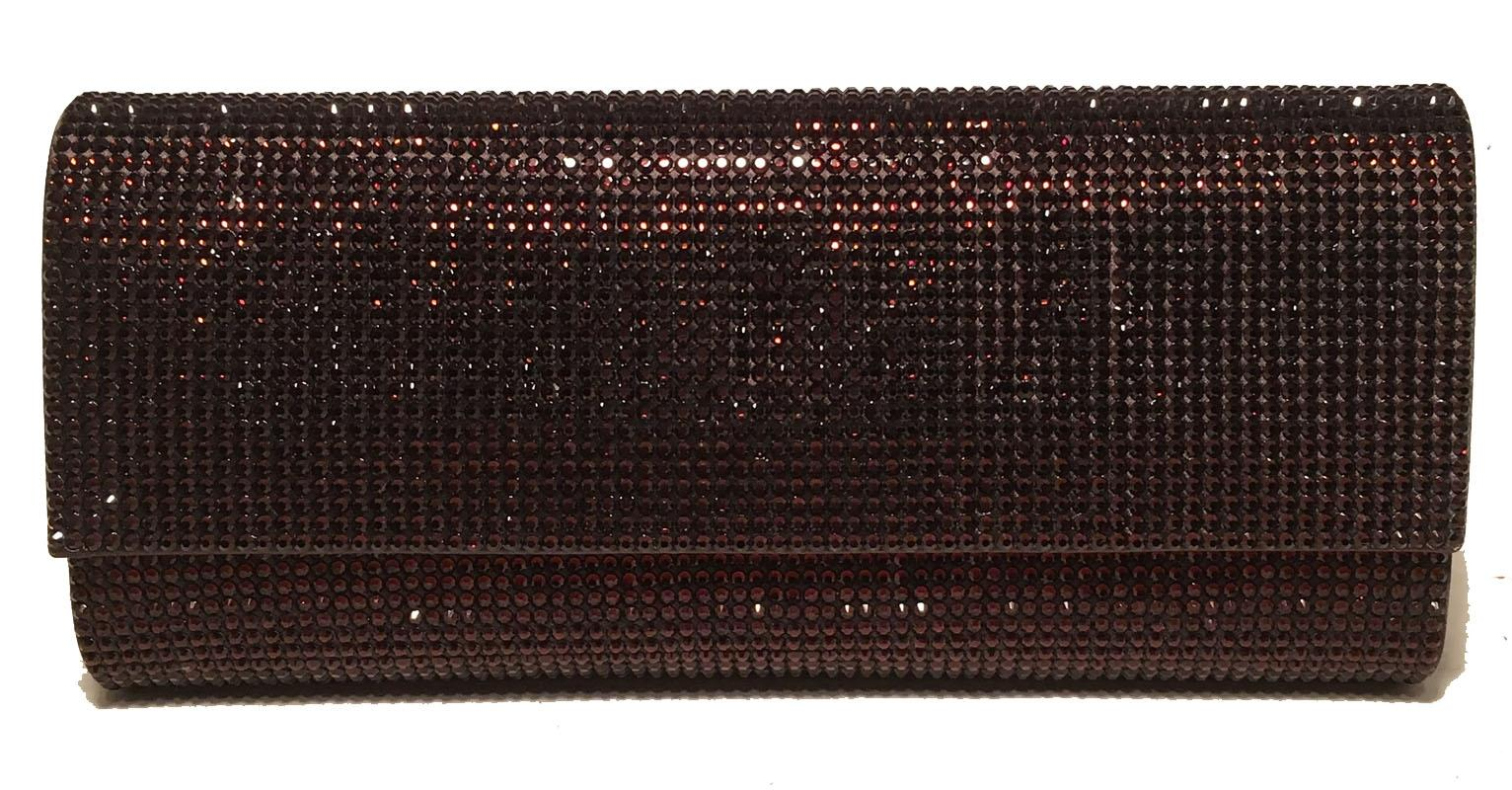 Judith Leiber Dark Red Crystal Evening Bag Clutch pAO9bpH