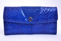 Judith Leiber Judith Leiber Jeweled Clasp Blue Snakeskin Wallet