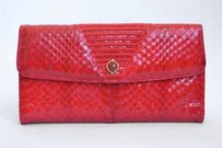 Judith Leiber Judith Leiber Jeweled Clasp Red Snakeskin Wallet