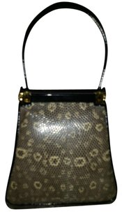 Judith Leiber Snake Skin Hermes Gucci Prada Wristlet in Black and White Lizard Skin, with Black Patent Leather Handle