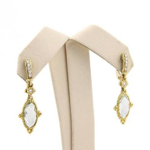 Judith Ripka Judith Ripka 18k Yellow Gold Aquamarine Diamond Dangle Drop Earrings