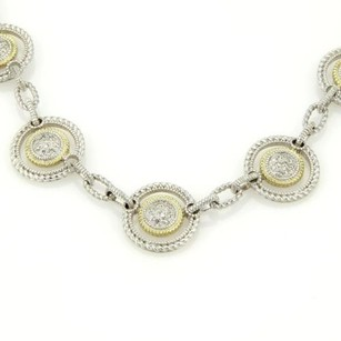Judith Ripka Judith Ripka 18k Ygold 925 Silver Diamond Open Circle Link Necklace