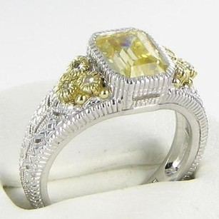 Judith Ripka Judith Ripka Estate Collection Ring Canary White Sapphire 18k Y G 925