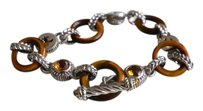 Judith Ripka JUDITH RIPKA STERLING COLLECTION CITRINE AND TIGER EYE TOGGLE BRACELET