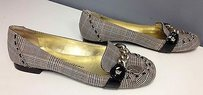 Juicy Couture Brown Blue Plaid Textile Gold Tone Accent B3009 Beige Flats