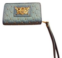 Juicy Couture Blue Quilted Wristlet Gold Studs