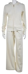 Juicy Couture Juicy Couture Womens Ivory Pant Suit Cotton Long Sleeve Jacket Full Zip