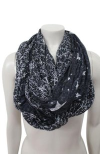 Juicy Couture Juicy Couture Star And Lace Reversible Infinity Black Gray Scarf