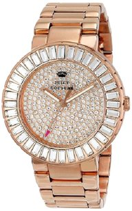 Juicy Couture Juicy Couture Womens Watch Stainless Steel Rose Gold Crystal Pave