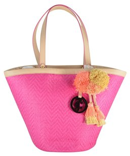 Juicy Couture North Shore Straw Lynn Beach Tote in Hot Pink