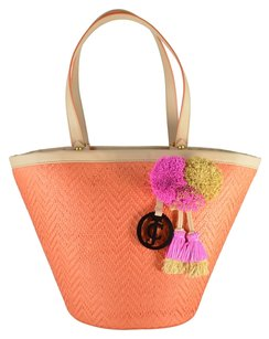 Juicy Couture North Shore Straw Lynn Beach Tote in Orange