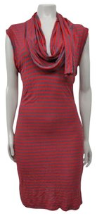 Juicy Couture Striped Cowl Neck Scarf Style Sleeveless Dress