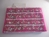 Julie Brown Embellished Beaded Wristlet Pink Clutch