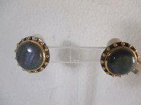 Julie Vos Julie Vos Gold Grey Chalcedony Clip On Earrings