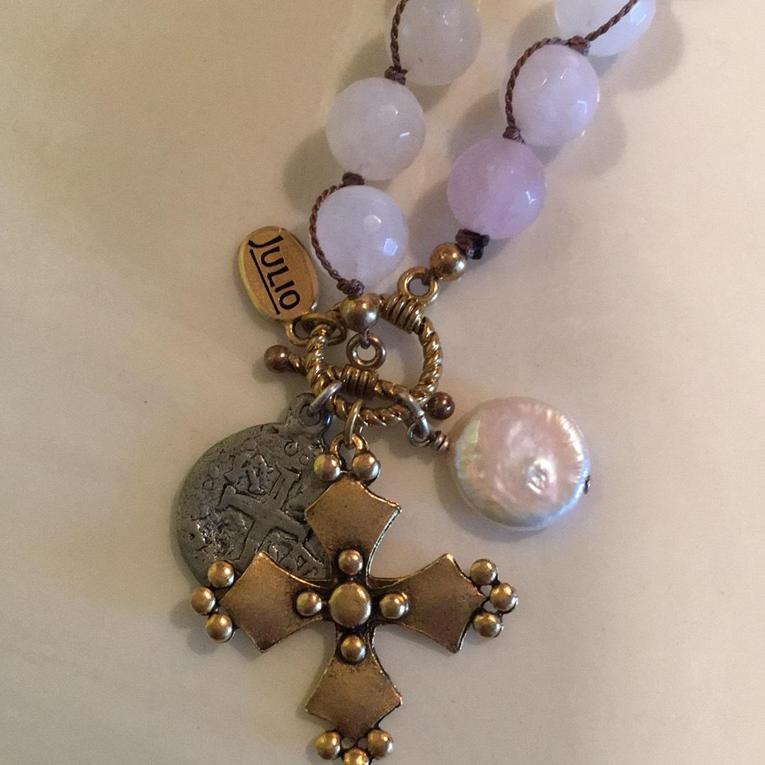 Julio Pink Rose Quartz and Pearl Charm Necklace