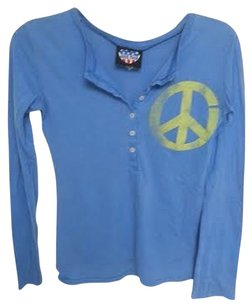 Junk Food Henley Longsleeved Peace Peace And Love T Shirt Blue