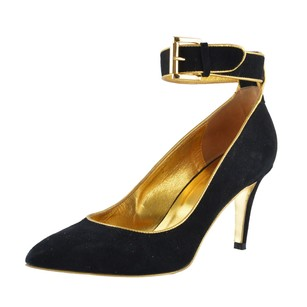 Just Cavalli Womens Suede Leather High Heel Ankle Strap Black Pumps