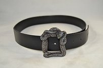 Just Cavalli Just Cavalli Black Leather Silver Snake Square Buckle Belt 90
