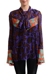 Just Cavalli Womens See Through Shirt Top Multi-Color
