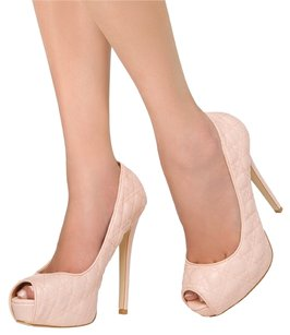 JustFab Quilted Peep Toe Blush Pumps