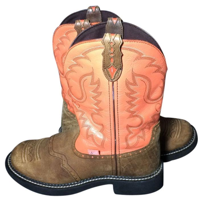 justin boots pink brown s booties