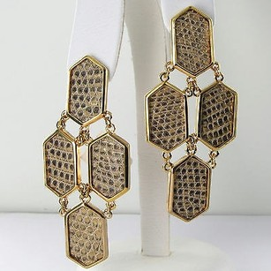 Kara Ross Kara Ross Hexagon Earrings Taupe Tejus Lizard 14k Yellow Gold Plate
